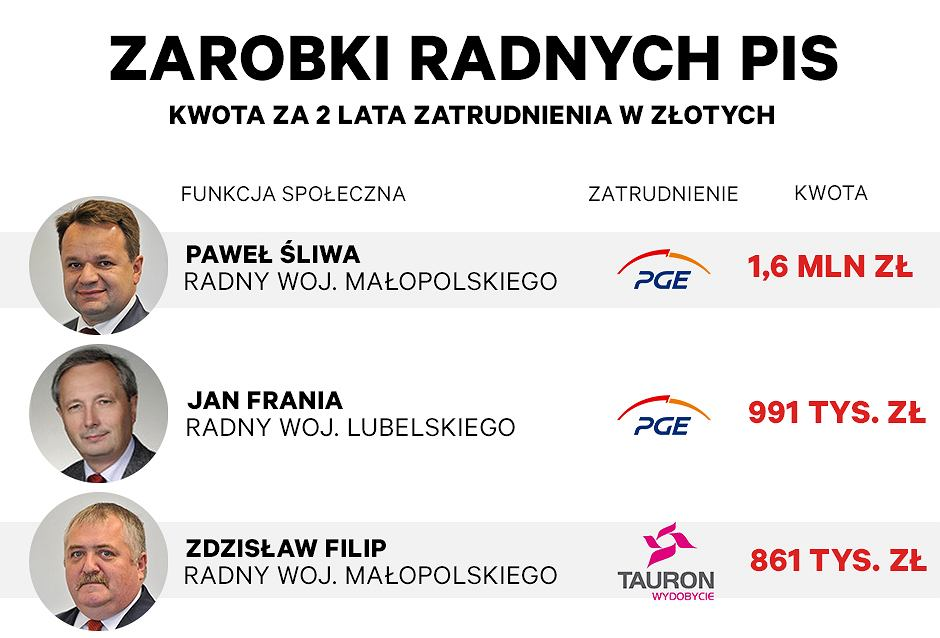 Radni PiS zarobili ponad 23 mln zł w dwa lata w spółkach Skarbu Państwa