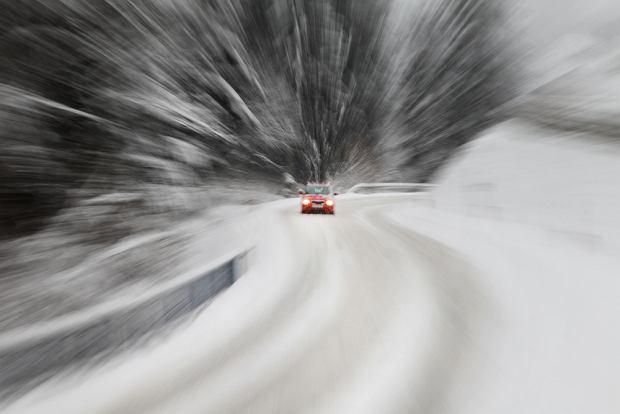 samochód, zima,