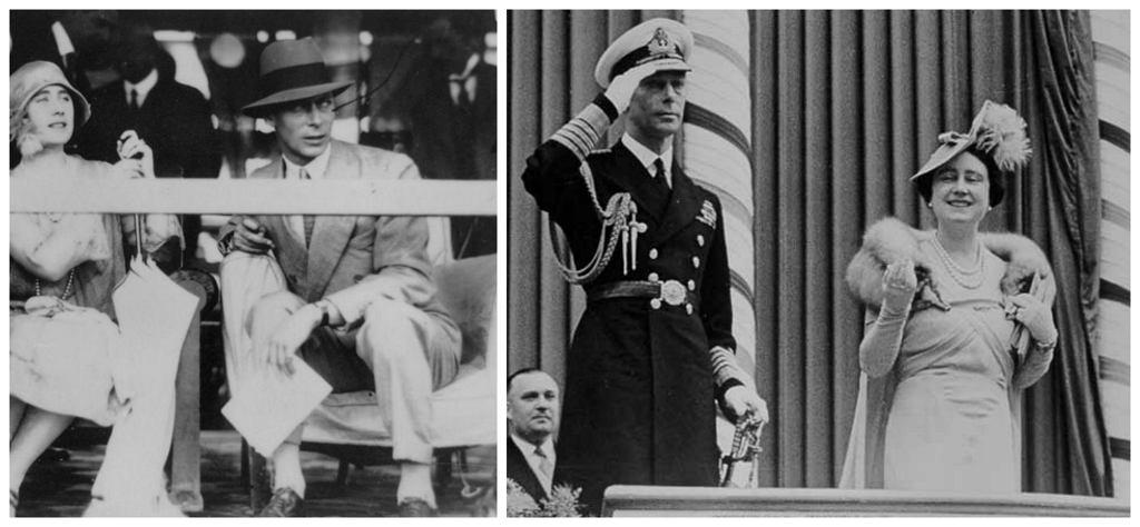 Rodzice królowej Elżbiety II. Po lewej - jeszcze jako książę i księżna Yorku - w 1927 r. Po prawej - już jako król i królowa - w 1939 r. (fot. Wikimedia.org / Domena publiczna)