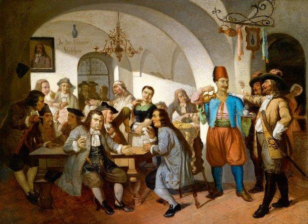 Hof zur Blauen Flasche, wiedeńska kawiarnia ponoć założona przez Jerzego Franciszka Kulczyckiego - obraz olejny z przełomu XIX i XX w.