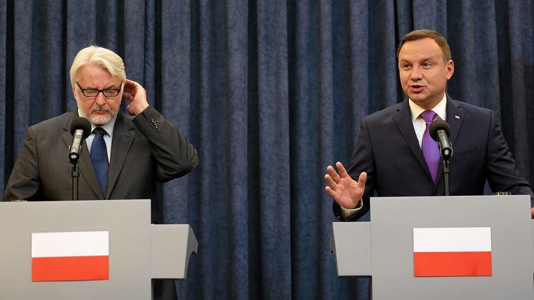 Prezydent Andrzej Duda i minister spraw zagranicznych Witold Waszczykowski
