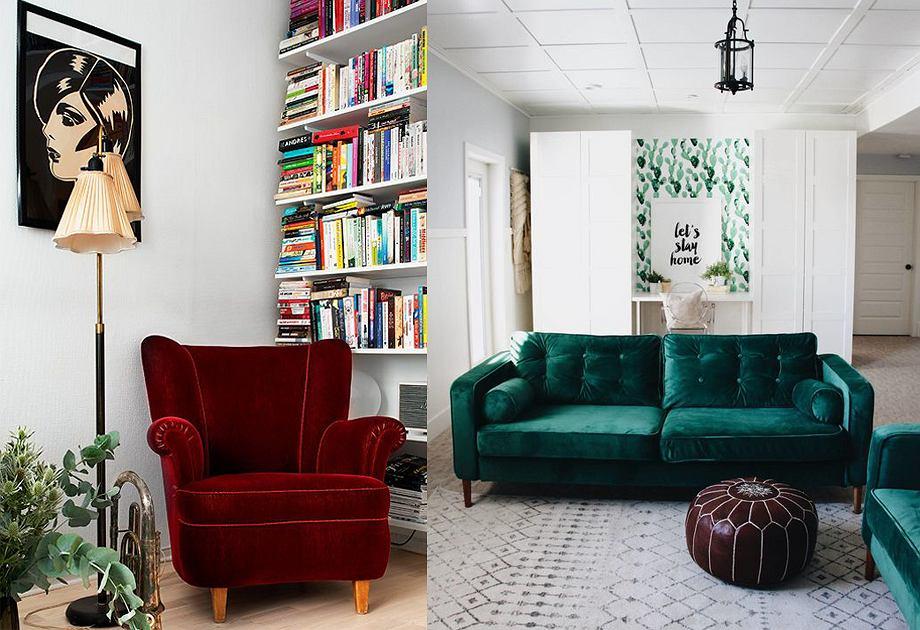Welurowa sofa i fotel