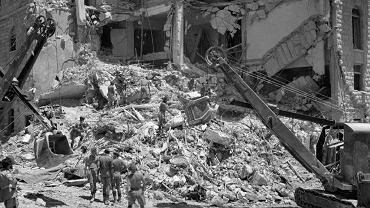 Zniszczony hotel King David w Jerozolimie. W zamachu dokonanym 22 lipca 1946 r. przez syjonistyczną organizację Irgun zginęło 91 osób