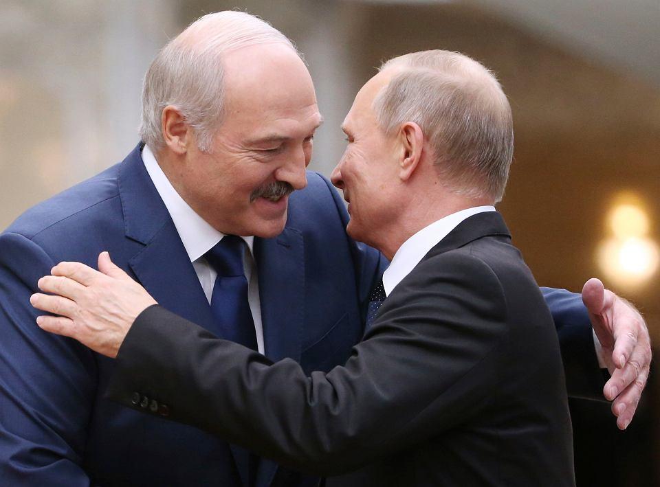 Zbir (Związek Białorusi i Rosji) Prezydent Rosji Władimir Putin i przywódca Białorusi Aleksander Łukaszenka. Mińsk, Listopad 2017