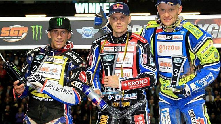Podium żużlowej rundy Grand Prix w Sztokholmie 2014. Od lewej: Greg Hancock, Jarosław Hampel i Krzysztof Kasprzak