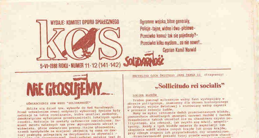 Redakcja podziemnego dwutygodnika KOS napisała list otwarty do czytelników