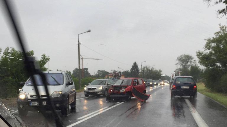 Wypadek na drodze E77 w Mławie