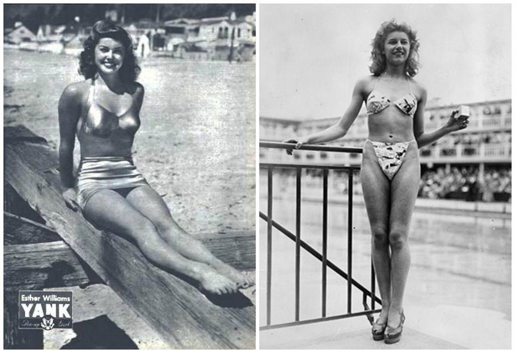 Esther Williams i Micheline Bernardini w kostiumach kąpielowych z połowy lat 40. XX wieku (fot. U.S. Army / Wikimedia.org / Domena publiczna / Keystone/Staff / Wikimedia.org / Fair use)