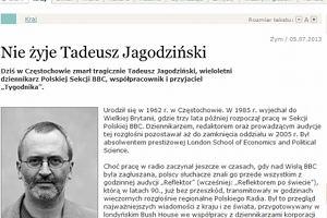 Dziennikarz Tadeusz Jagodzi�ski nie �yje