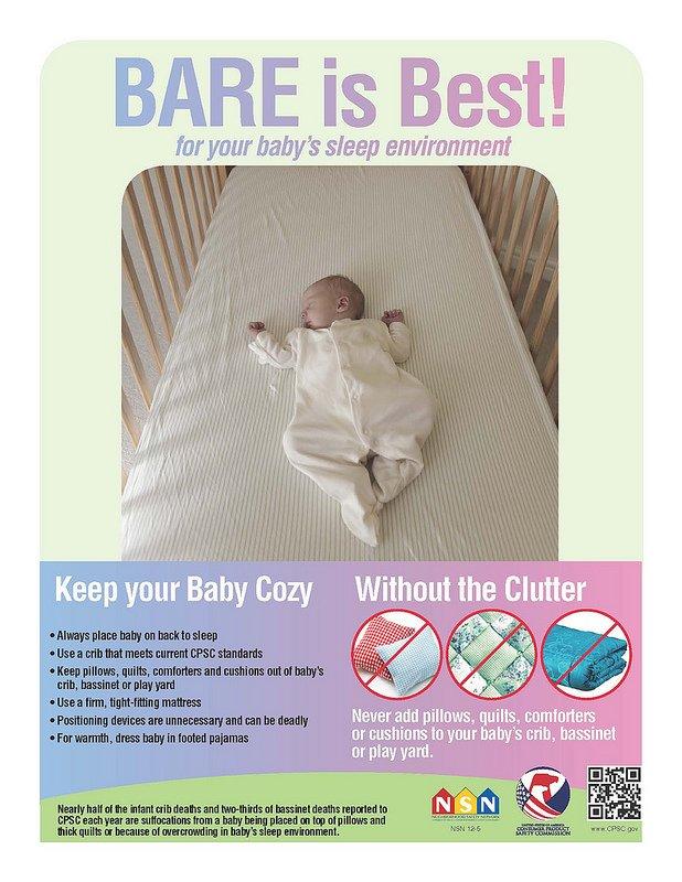 Plakat amerykańskiej instytucja rządowej o bezpiecznym śnie dziecka