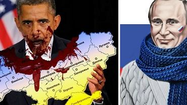 """Barack Obama pożera Ukrainę. Obok dobrotliwy Władimir Putin. Obrazki stworzone przez fanów """"Noworosji"""""""