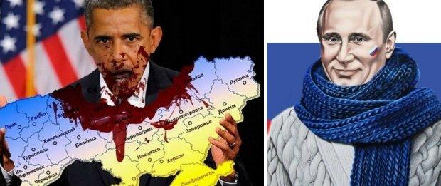 Barack Obama pożera Ukrainę. Obok dobrotliwy Władimir Putin. Obrazki stworzone przez fanów