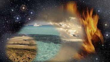 Znaki zodiaku są pogrupowane w cztery podstawowe żywioły: ziemię, wodę, powietrze i ogień.