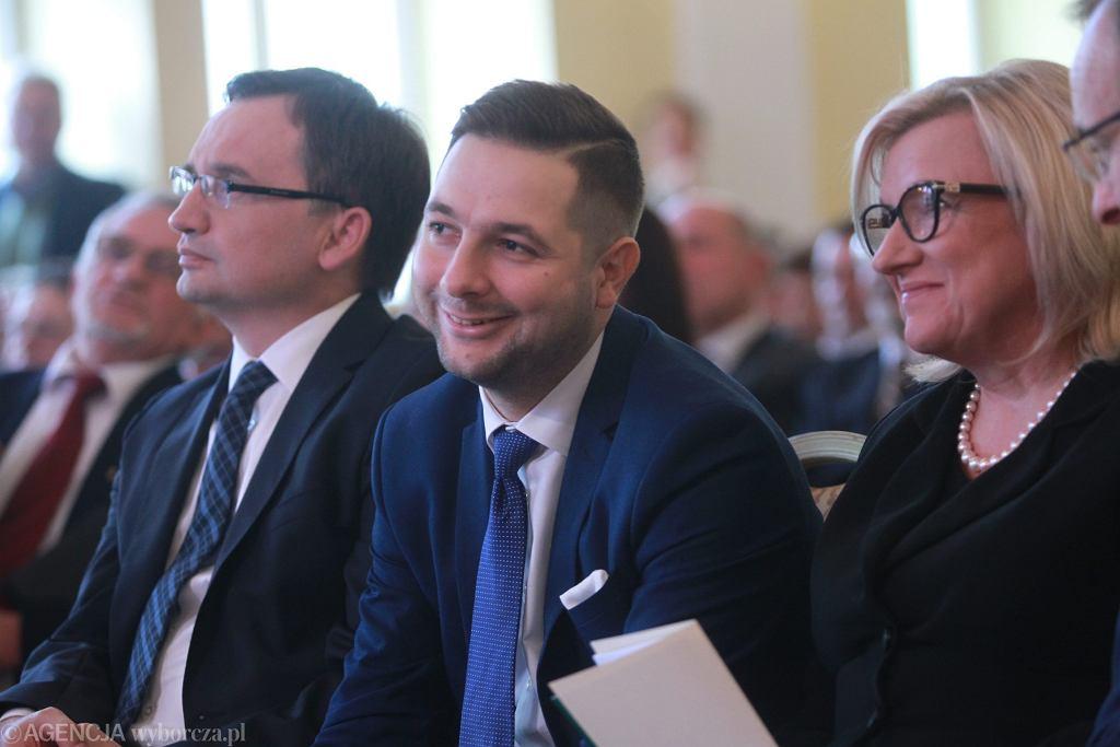 Konwencja Solidarnej Polski, na zdjęciu Zbigniew Ziobro , Patryk Jaki i Beata Kempa