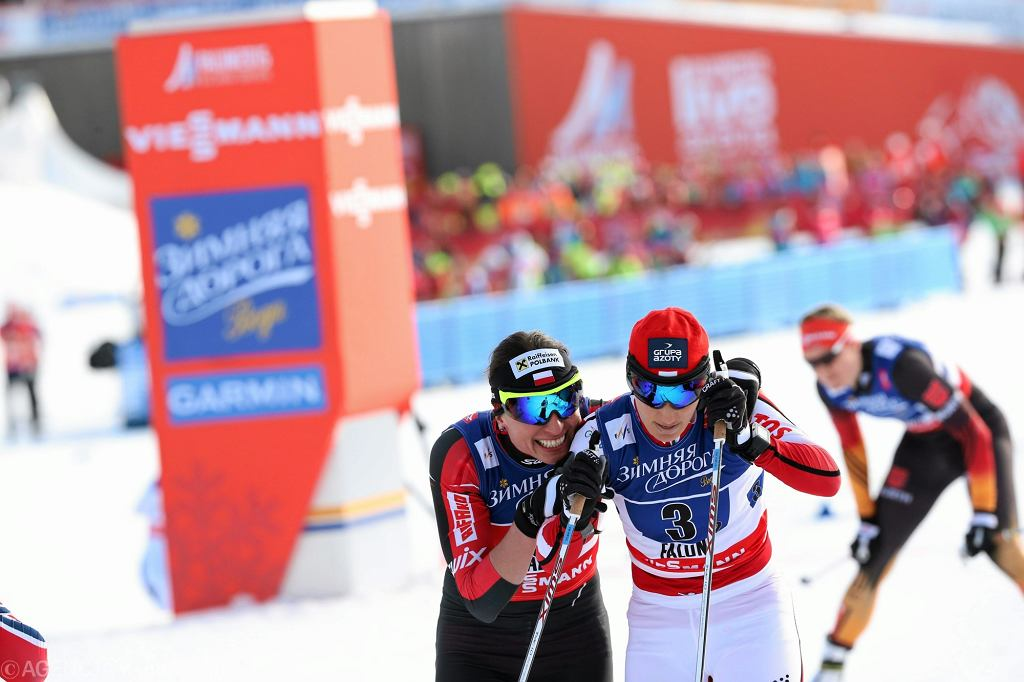 Radość Justyny Kowalczyk i Sylwii Jaśkowiec po zdobyciu brązowego medalu w Falun
