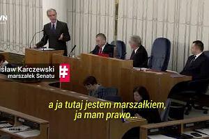"""Senatorzy skandują: """"Konstytucja! Konstytucja!"""" Bogdan Klich przypomina o łamaniu Konstytucji przez Sejm"""