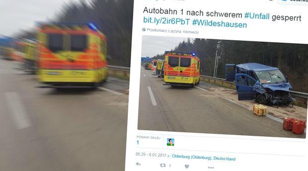Wypadek polskiego busa na autostradzie w Niemczech. 11 osób rannych