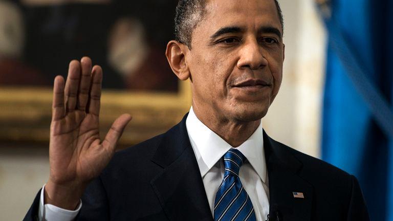 Barack Obama z rodziną podczas zaprzysiężenia w Białym Domu
