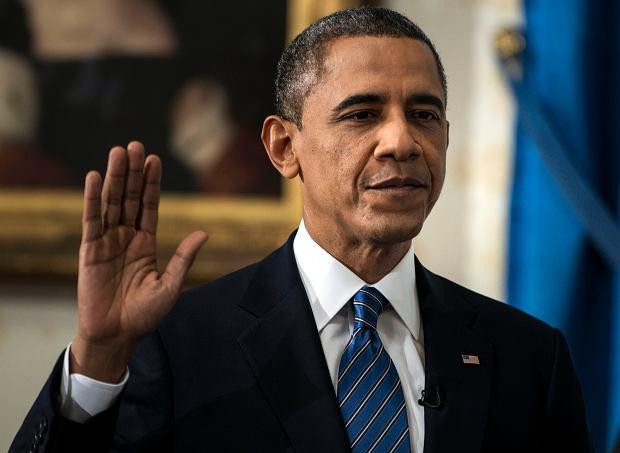 Barack Obama z rodzin� podczas zaprzysi�enia w Bia�ym Domu
