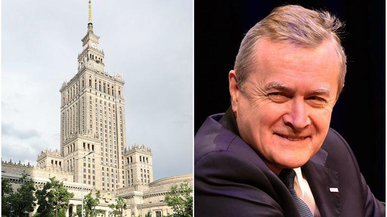 Pałac Kultury i Nauki oraz wicepremier Piotr Gliński