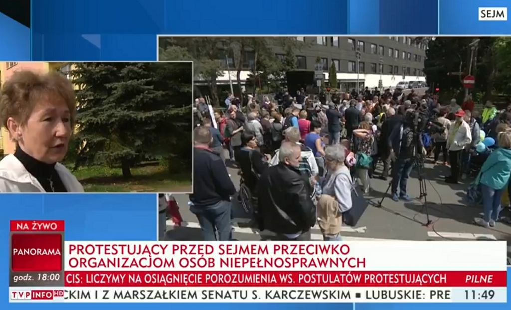 'Paski' TVP podczas protestu w Sejmie