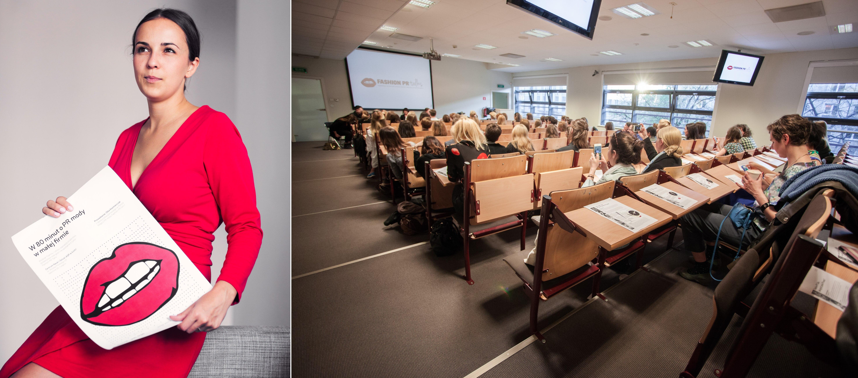 Olka Kaźmierczak i organizowany przez nią panel dyskusyjny o promocji polskiej branży mody w Szkole Głównej Handlowej (fot. Style Stalker)