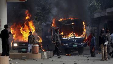 25.11.2017, zamieszki na ulicach Islamabadu w Pakistanie.