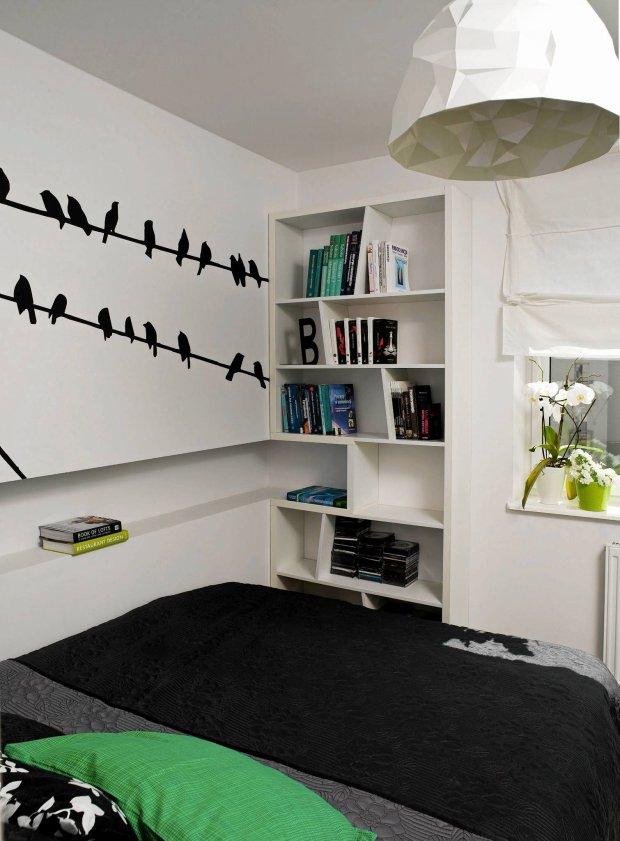 sypialnia, czarno-białe wnętrza, aranżacja wnętrz
