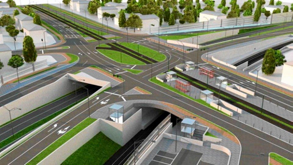 Wizualizacja zintegrowanego węzła Łękno, który ma powstać w ramach budowy obwodnicy śródmiejskiej. Tu też będzie stacja SKM