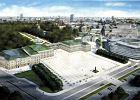 Tak miała wyglądać odbudowana zachodnia pierzeja placu Piłsudskiego według planów miasta. Na środku Pałac Saski, z lewej kamienice przy Królewskiej, z prawej (w głębi)- Pałac Bruhla.
