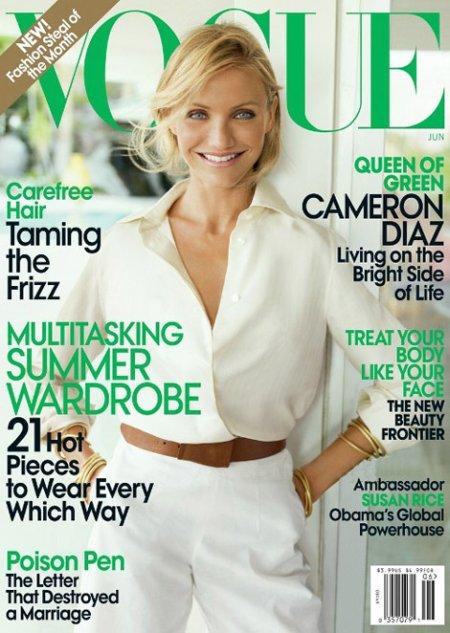 Cameron Diaz na okładce czerwcowego numeru amerykańskiego Vogue'a (Źródło: skan własny)