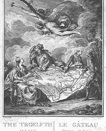 Kołacz królewski - alegoria rozbioru Polski, miedzioryt wykonany na podstawie rysunku przez Nicolas Noël Le Mire