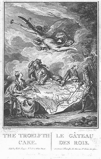 Ko�acz kr�lewski - alegoria rozbioru Polski, miedzioryt wykonany na podstawie rysunku przez Nicolas No�l Le Mire