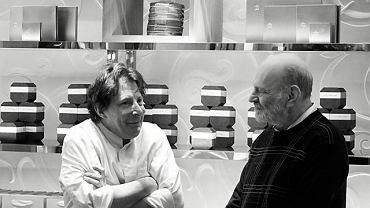 Autor artykułu (po prawej) i Jacques Génin, cukiernik, który swe pierwsze słodkości stworzył na urodziny córki