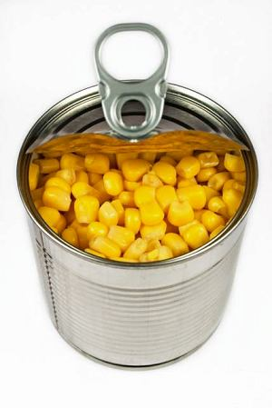 Sweetcorn can, white background