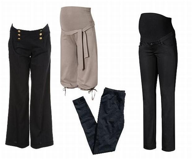 W zestawie: marynarskie spodnie Topshop ok. 158 zł, pumpy H&M 59,90 zł, legginsy H&M 29,90 zł, dżinsy H&M 129 zł.
