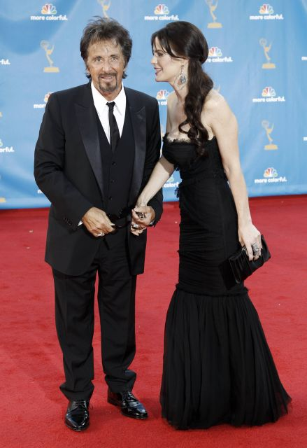 Al Pacino and Lucila Sol? arrive at the 62nd Primetime Emmy Awards Sunday, Aug. 29, 2010, in Los Angeles. (AP Photo/Matt Sayles)