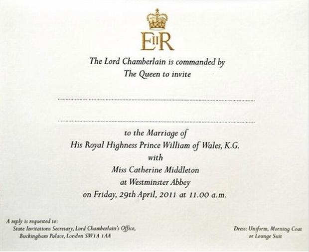 Zobacz Zaproszenie Na ślub Księcia Williama Foto