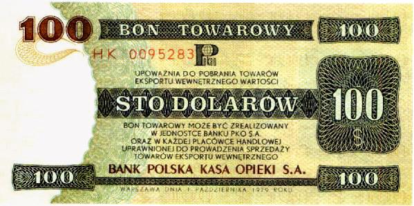 PRL, bony towarowe, dolarów
