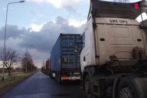 Protest kierowców ciężarówek w Gdańsku