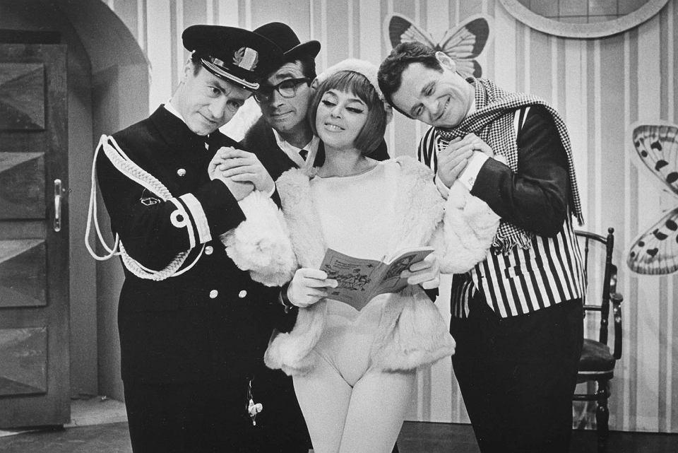 Kabaret Starszych Panów, 1965 r. Na zdjęciu: Wiesław Michnikowski, Jacek Fedorowicz, Kalina Jędrusik, Bronisław Pawlik