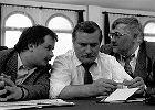 Spotkanie w Stoczni Gdańskiej. Na zdjęciu Lech Kaczyński i Lech Wałęsa. 1990 rok