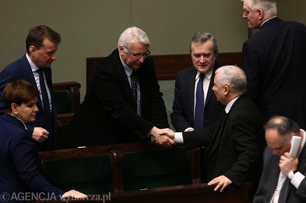 Rz�d Beaty Szyd�o i prezes PiS Jaros�aw Kaczy�ski w Sejmie