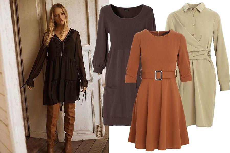 brązowe sukienki/mat. partnera