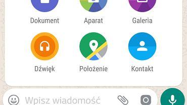 Przesyłanie plików przez WhatsAppa