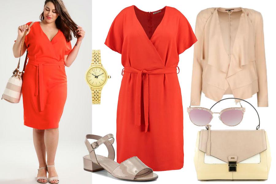 62521b32d4 Czerwona sukienka koktajlowa dla puszystych  moda plus size