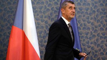 Premier Czech Andrej Babisz podczas konferencji  prasowej w siedzibie rządu. Praga, 12 kwietnia 2018 r.