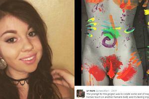 """Nagie zdjęcie i kolorowe farbki - 19-latka świetnie pokazała, jak wygląda """"zły dotyk"""". Jej praca robi furorę"""