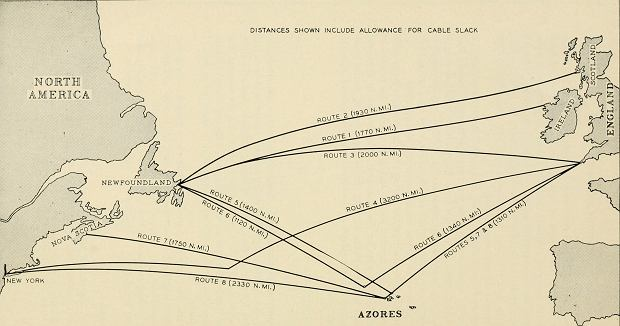 Trasy kabli TAT - wczesne studium z 1956 roku