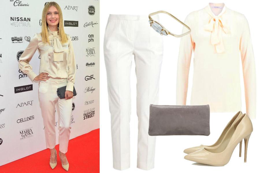 Białe spodnie w stylizacji Magdaleny Górskiej / Źródło: KAPIF